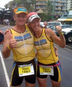 Stan Fetting & Mary Jackson celebrate the end of the pain in the recovery area of the Mooloolaba Triathlon