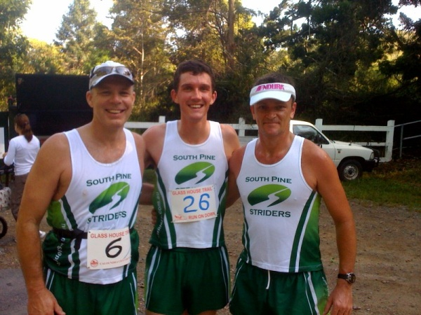 Erik Anderson, Greg Hall, Stan Fetting celebrate the end of the pain at Pinnacles CLassic 2009