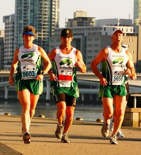 Jenny Cawood, Tony Banfield & Gabriel Petrie working together in the Half and Marathon (Tony) at the recent Brisbane Marathon Festival